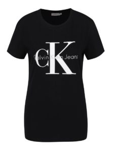 Čierne dámske tričko s potlačou Calvin Klein Jeans Shrunken