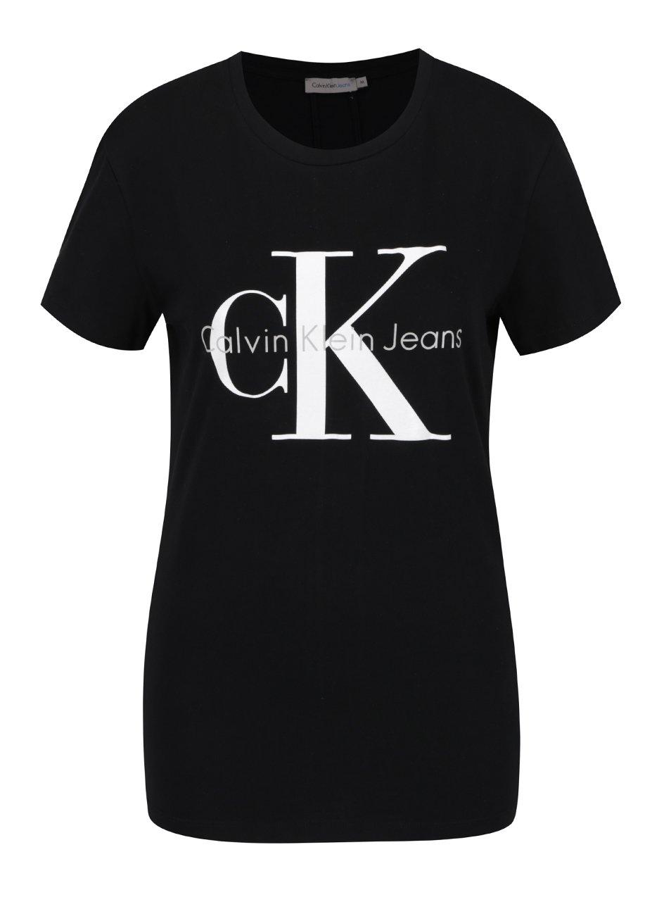 a4d0a1ddc Čierne dámske tričko s potlačou Calvin Klein Jeans Shrunken | Moda.sk