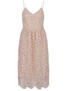Ružové čipkované šaty na tenké ramienka VILA Dalton
