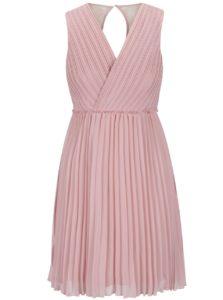Ružové plisované šaty s čipkou na chrbte VILA Ines