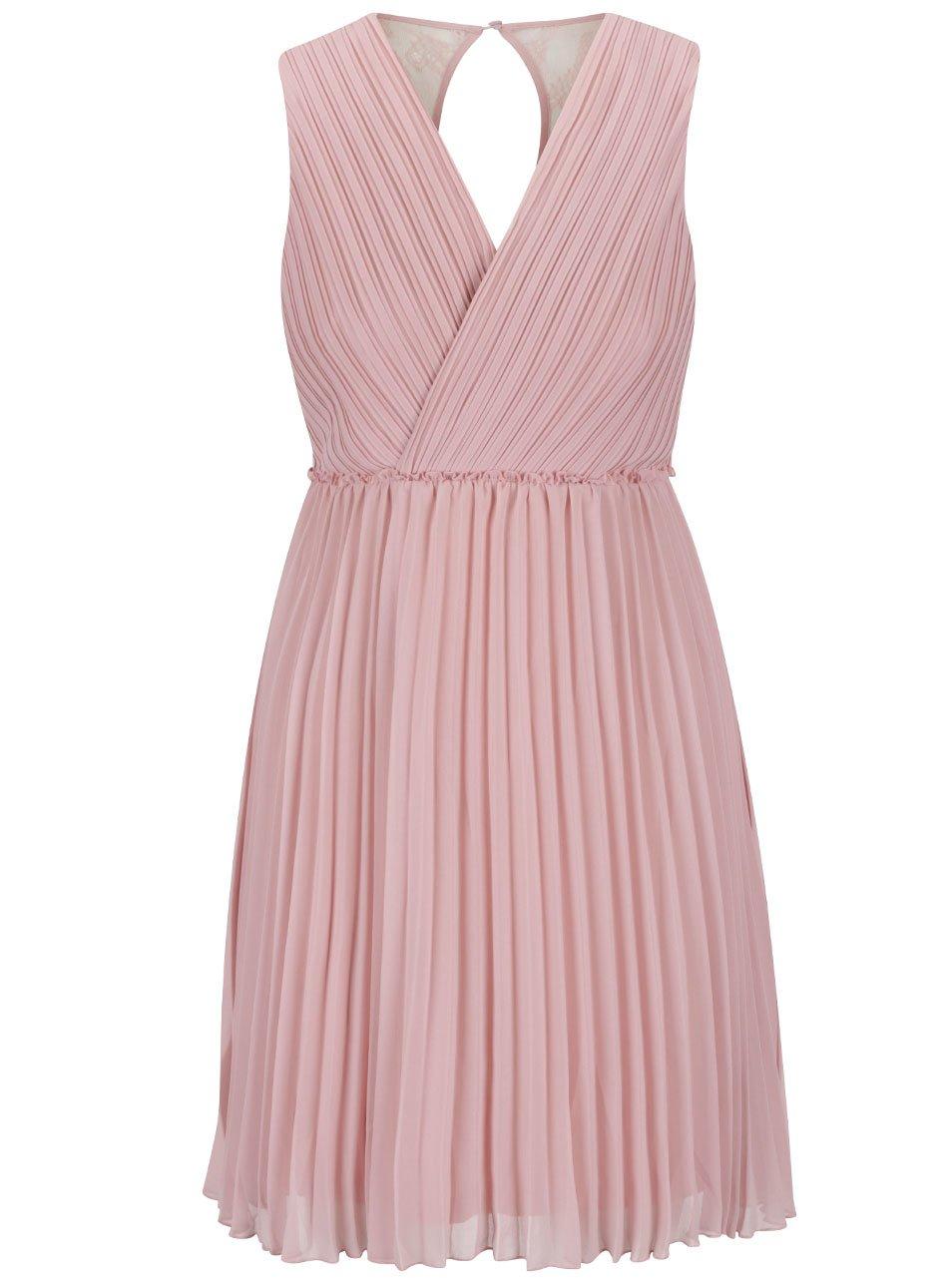 Ružové plisované šaty s čipkou na chrbte VILA Ines  afa98ab0ee3