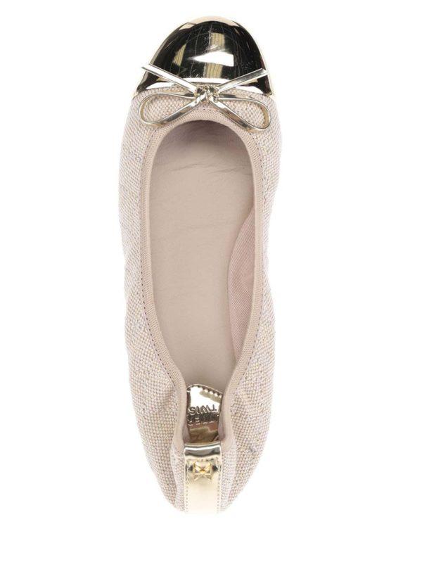 Béžové baleríny s detailmi v zlatej farbe do kabelky Butterfly Twists Olivia