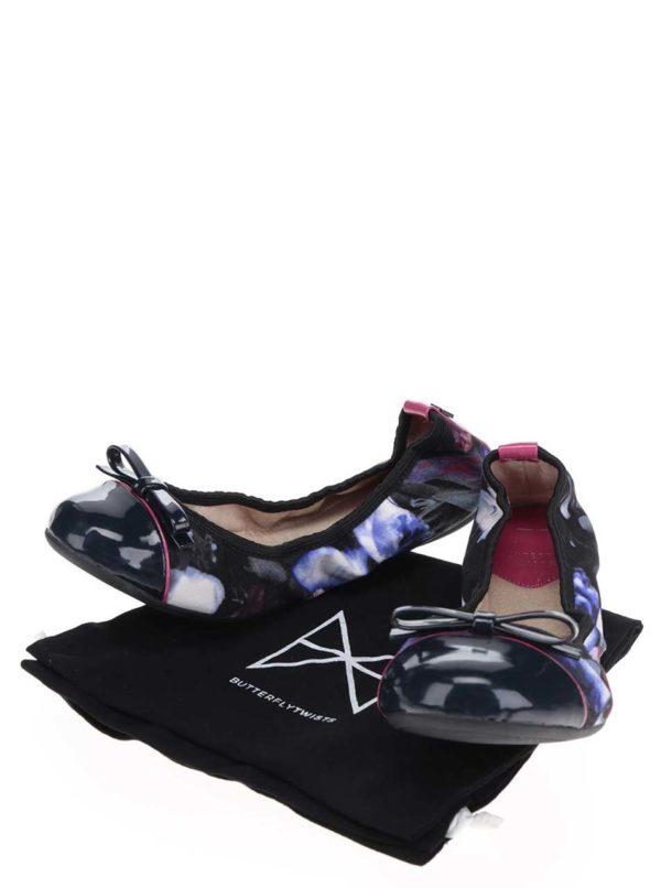 Čierno-modré vzorované baleríny do kabelky Butterfly Twists Cara