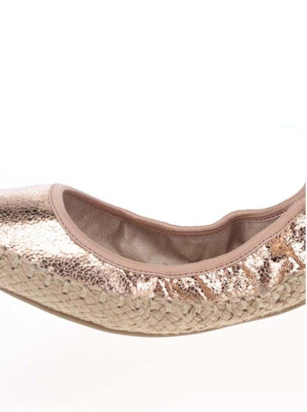 Baleríny v ružovozlatej metalickej farbe do kabelky Butterfly Twists Gigi