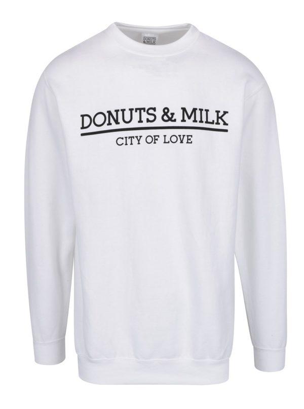 Biela unisex mikina bez kapucne Donuts & Milk