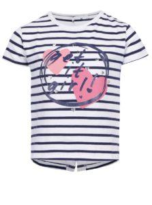 Modro-biele dievčenské pruhované tričko s potlačou 5.10.15.