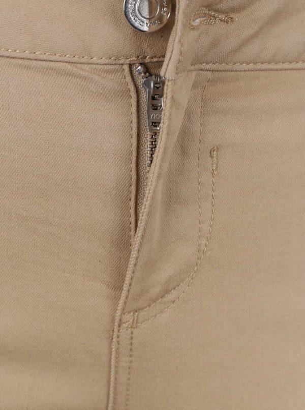 Béžové slim fit skrátené nohavice VILA Commit