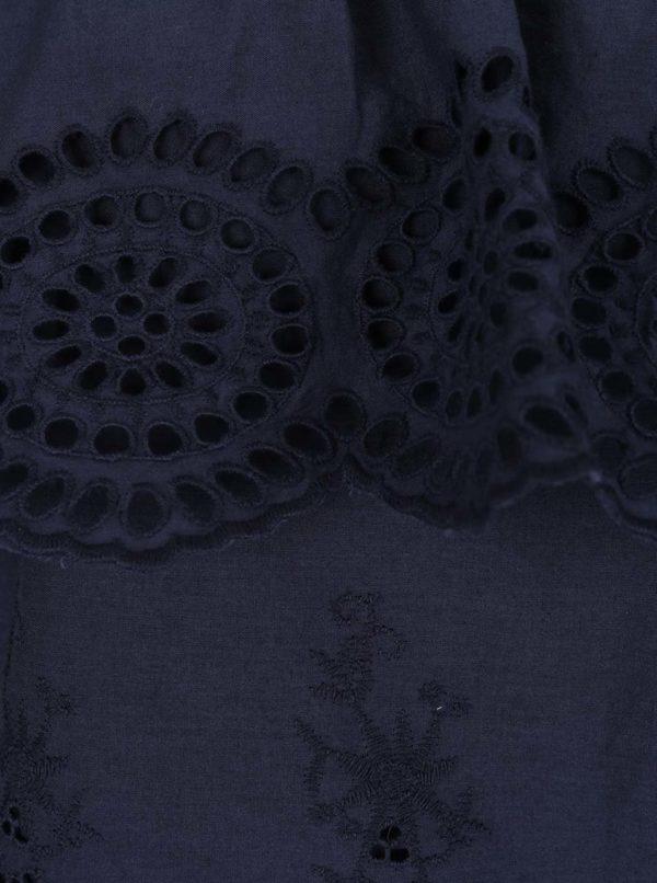 Modrá blúzka s odhalenými ramenami a madeirou VILA Emilia