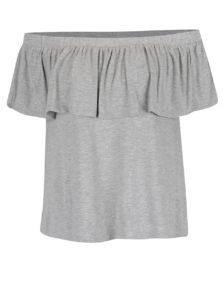 Sivé tričko s odhalenými ramenami a volánom VILA Foma