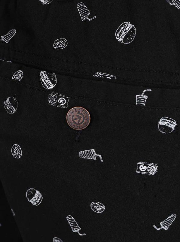 Čierne pánske vzorované  kraťasy MEATFLY Jeffry