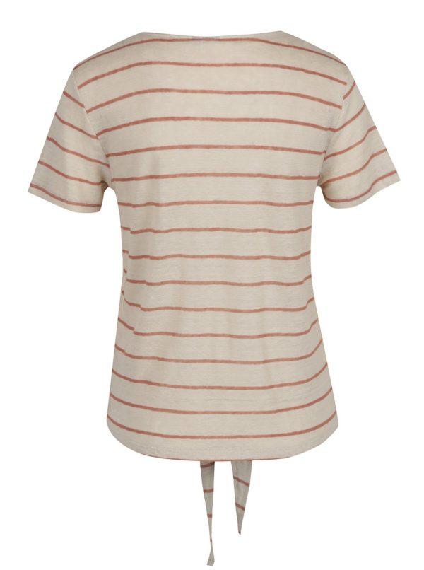 Hnedo–béžové pruhované ľanové tričko s uzlom VERO MODA Reza