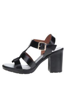 a509dd784a99 Čierne dámske kožené sandále na podpätku OJJU