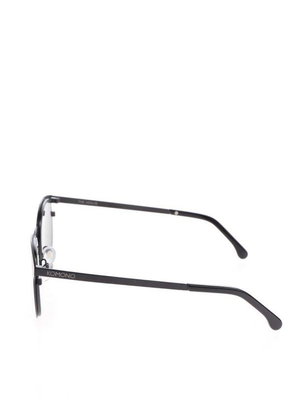 Čierne unisex slnečné okuliare s kovovým rámom Komono Hollis