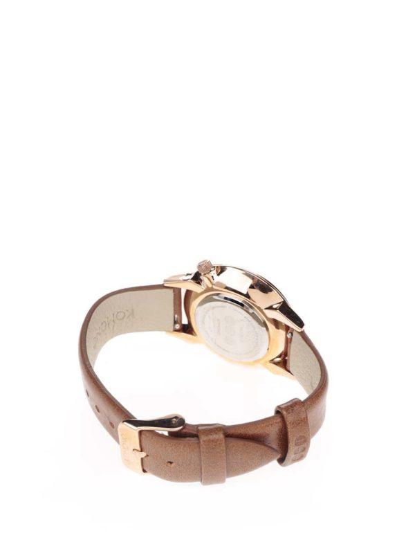 Dámske hodinky v ružovozlatej farbe s hnedým koženým remienkom Komono Estelle