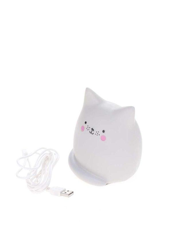 Svetlosivá malá LED lampa v tvare mačky Disaster Cat