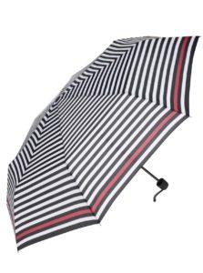 Krémovo-čierny pruhovaný dáždnik s červeným pruhom Derby