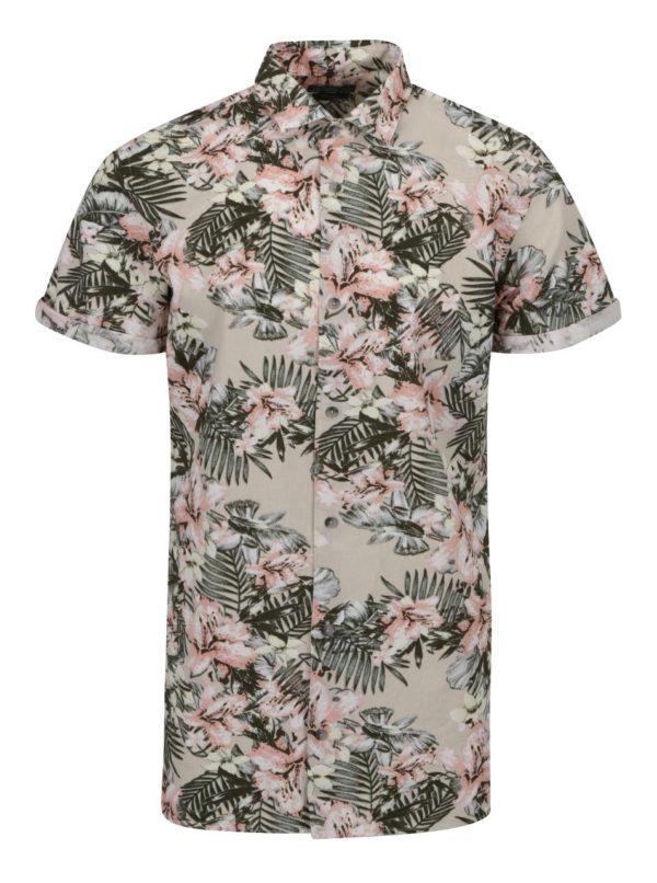 Zeleno-béžová kvetovaná košeľa s krátkym rukávom Jack & Jones