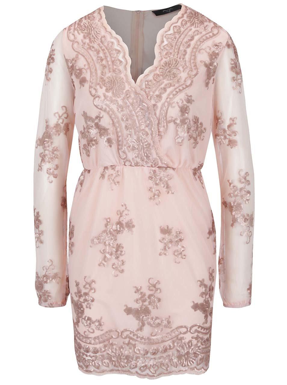 Svetloružové šaty s čipkou a dlhým rukávom AX Paris  4d502258170