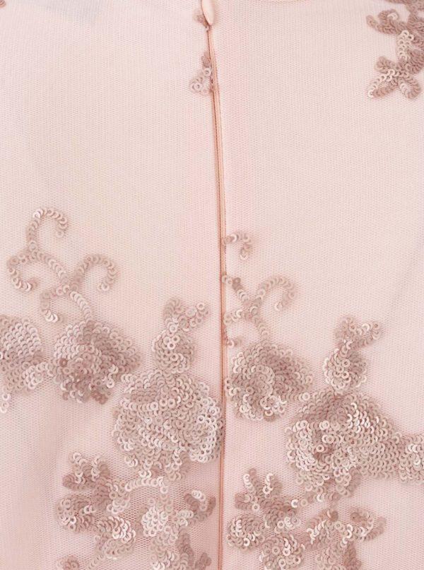 Svetloružové šaty s čipkou a dlhým rukávom AX Paris