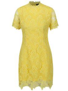 Žlté čipkované šaty s krátkym rukávom AX Paris