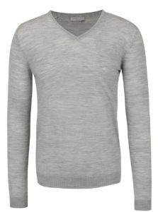 Svetlosivý melírovaný sveter z Merino vlny Selected Homme Tower