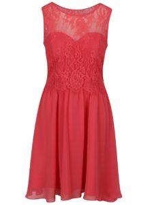 Ružové šaty bez rukávov s čipkovým topom Dorothy Perkins