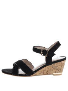 Čierne sandále v semišovej úprave na platforme Dorothy Perkins