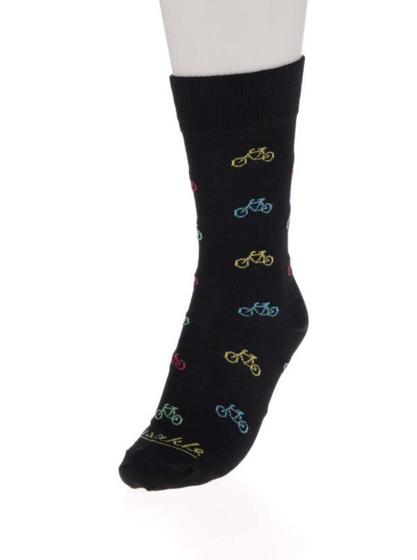 Čierne unisex ponožky s motívom bicyklov Fusakle Cyklista čierny