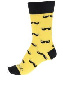 Čierno-žlté unisex ponožky s motívom fúzov Fusakle Fúzač