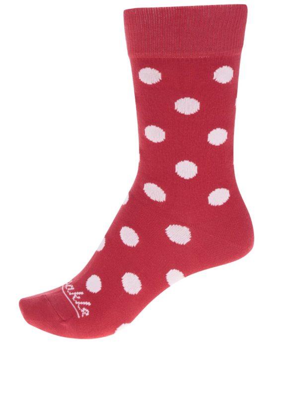 Bielo-červené unisex bodkované ponožky Fusakle Komanč