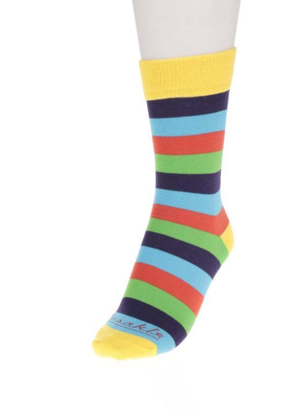Modro-žlté unisex pruhované ponožky Fusakle Multikulturalista