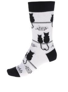 Čierno-biele unisex ponožky s motívom mačiek Fusakle Kocúr a mačka
