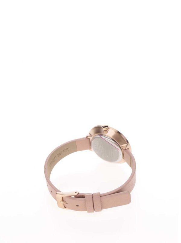 Dámske pozlátené hodinky v ružovozlatej farbe s koženým remienkom Pilgrim