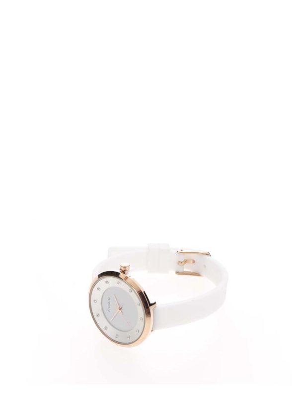 Dámske pozlátené hodinky v ružovozlatej farbe so silikónovým remienkom Pilgrim