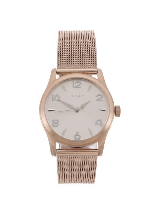 Dámske pozlátené hodinky v ružovozlatej farbe s remienkom z nehrdzavejúcej ocele Pilgrim