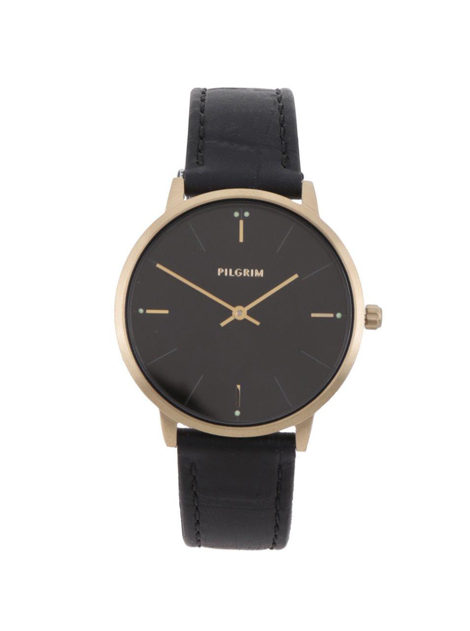 Dámske pozlátené hodinky s koženým remienkom Pilgrim  73defc454e3