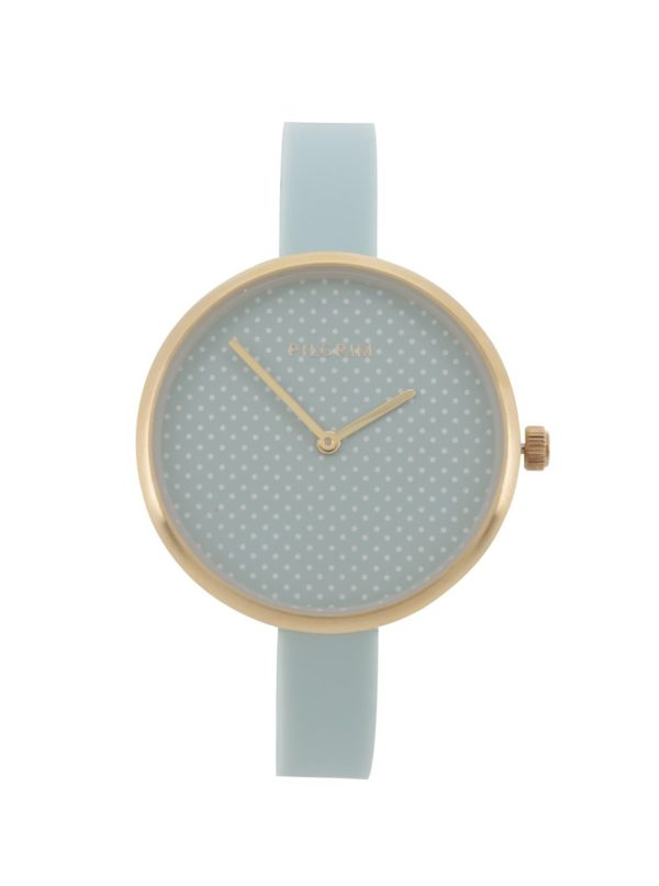 Dámske pozlátené hodinky so silikónovým remienkom Pilgrim