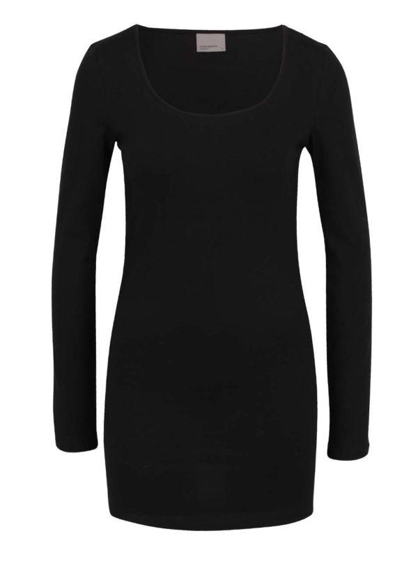 Čierne dlhé basic tričko s dlhým rukávom VERO MODA Maxi My