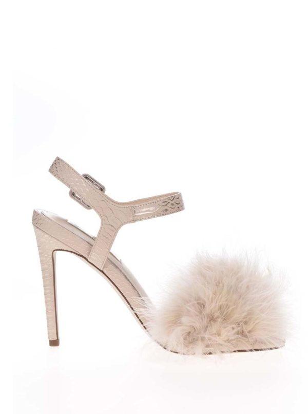 Béžové sandálky s perím na špičke Miss Selfridge