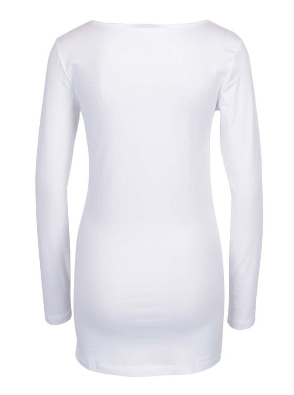 Biele dlhé basic tričko s dlhým rukávom VERO MODA Maxi My