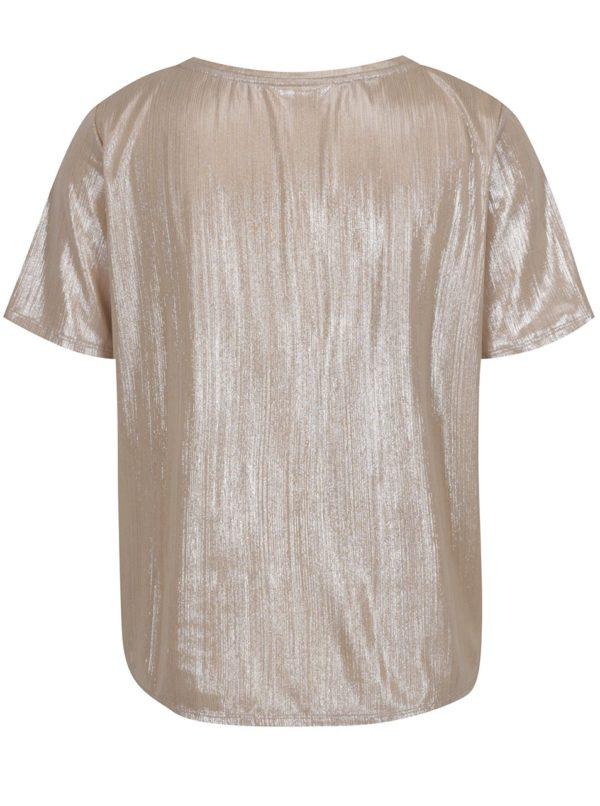 Tričko v béžovozlatej farbe s krátkym rukávom VILA Rittes