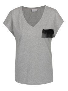 Sivé tričko s ozdobným detailom VILA Dreamers