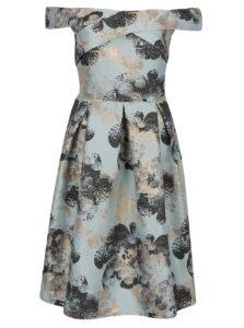 Tyrkysové kvetované šaty s odhalenými ramenami Miss Selfridge