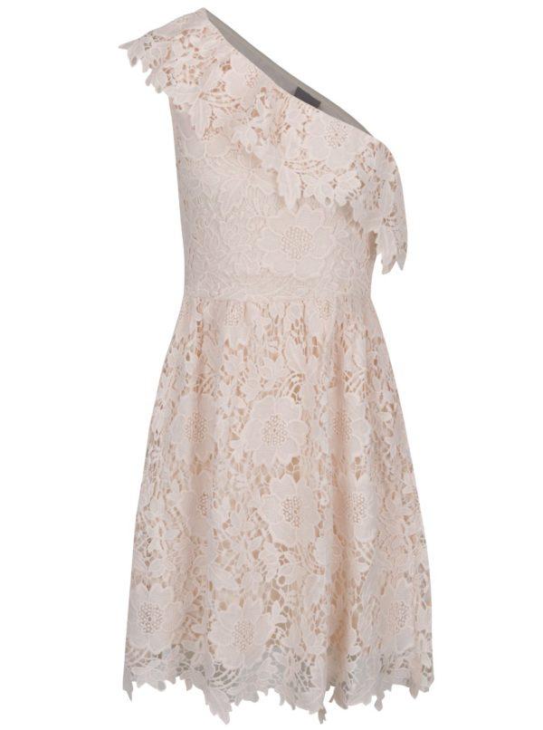 Svetloružové čipkované šaty cez jedno rameno VERO MODA Thus