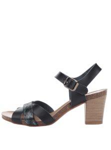 Čierne kožené sandálky na nízkom podpätku OJJU