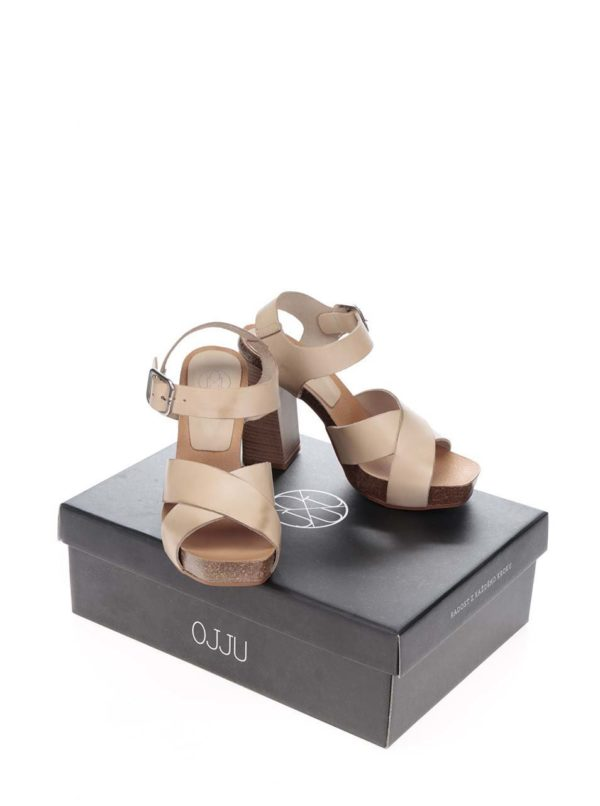 Béžové kožené sandálky na vysokom podpätku OJJU