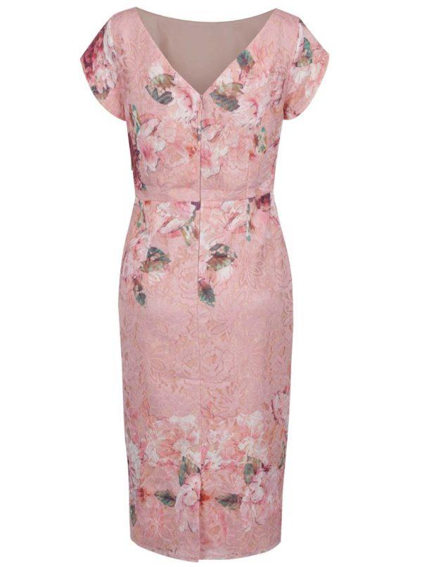 Ružové kvetované čipkované šaty Little Mistress