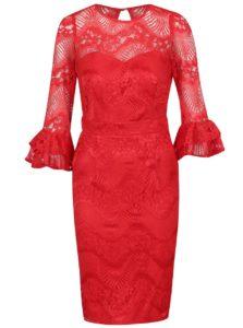 Červené čipkované šaty s volánmi na rukávoch Little Mistress