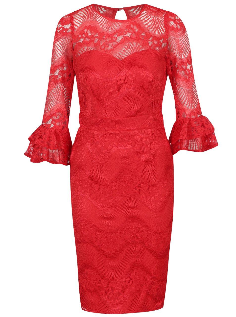 060cde61a85e Červené čipkované šaty s volánmi na rukávoch Little Mistress