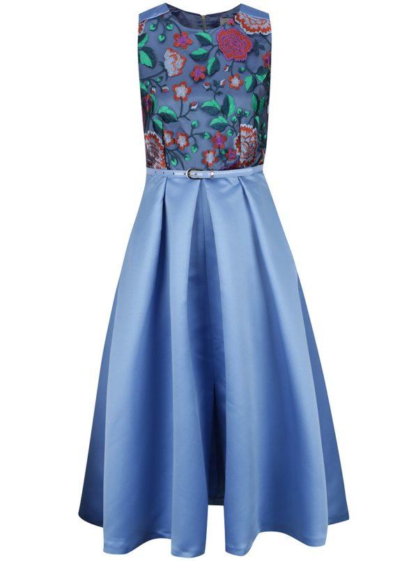 Modré midišaty s kvetovaným topom a opaskom Closet